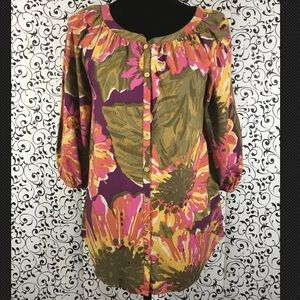Isaac Mizrahi Multicolored Button Down Blouse NWOT
